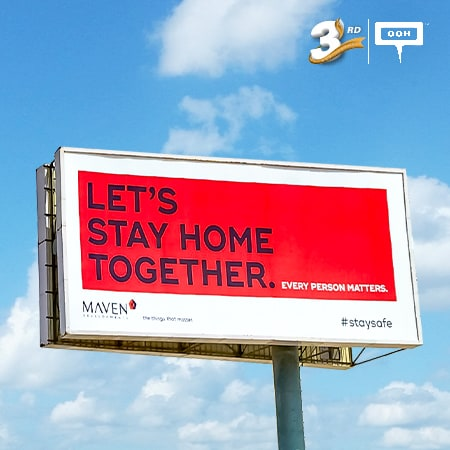 """Let's stay home together"", Maven's call-to-action on Cairo's billboards"