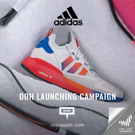 Adidas introduces the new ZX 2K Boost shoes on Dubai's billboards