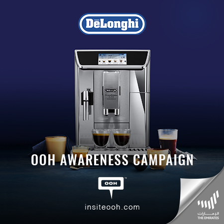 "De'Longhi brings its unique coffee makers on Dubai's billboards for a ""Fresh Bean to Cup coffee"""