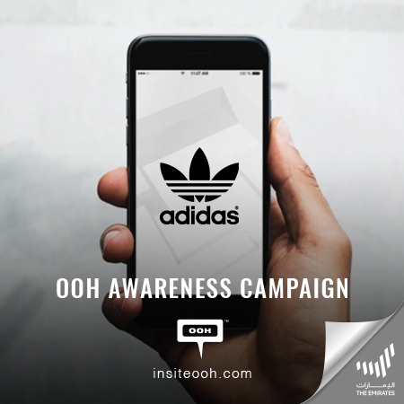 Adidas promotes its new mobile app on the billboards of The Emirates