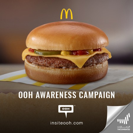 Via Dubai's billboards, McDonald announced their Limited Period offer, Get a FREE Cheeseburger with every online order, only through McDelivery