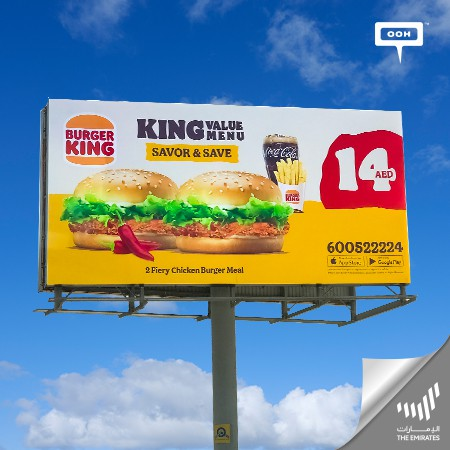 """Burger King Rolls Out """"King Value Menu"""" with a Double Trouble Offer on Dubai's Billboard"""